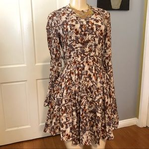 H&M Rayon Fall Long Sleeve Fit And Flare Dress